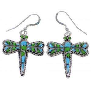 Opal Multicolor Inlay Silver Dragonfly Hook Dangle Earrings NS33212