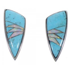 Sterling Silver Turquoise and Opal Jewelry Post Earrings RS32361