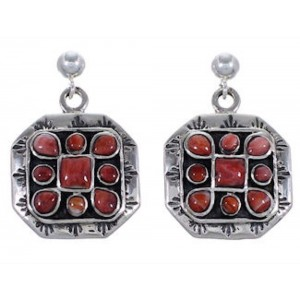 Southwest Jewelry Silver Red Oyster Shell Post Dangle Earrings NS50755