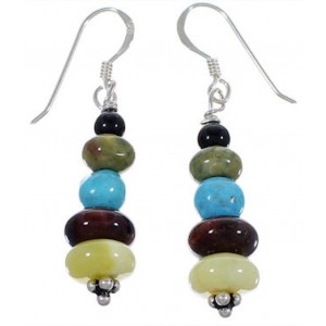 Native American Indian Multicolor Silver Bead Earrings DS44082