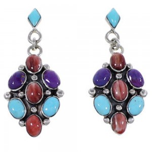 Sterling Silver Jewelry Turquoise Multicolor Post Earrings HS33416