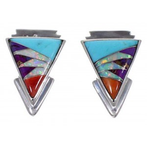 Silver Jewelry And Turquoise Multicolor Post Earrings RS39859