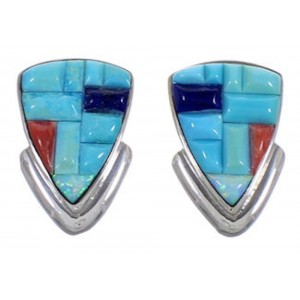 Turquoise Multicolor Inlay Sterling Silver Post Earrings NS50886