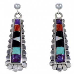 Sterling Silver Multicolor Turquoise Jewelry Post Earrings RS39643