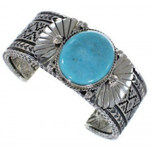 Southwest Sterling Silver Turquoise Cuff Bracelet HX27213