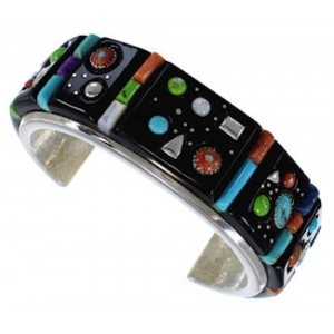 Sterling Silver Multicolor Inlay Southwest Cuff Bracelet PX28009