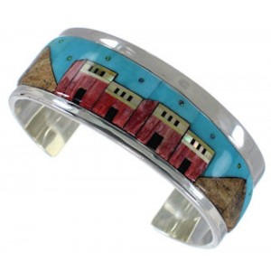 Multicolor Silver Native American Village Design Cuff Bracelet EX27887