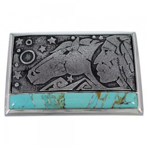 Southwest Sterling Silver Jewelry Turquoise Belt Buckle YS59882