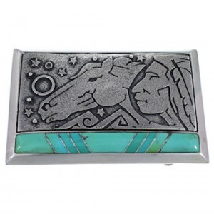 Chief Head Horse Southwest Turquoise Silver Belt Buckle AW75313