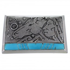 Turquoise Inlay Chief Head And Horse Silver Belt Buckle AW75309