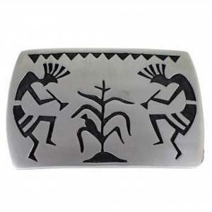 Hopi Indian George Phillips Silver Kokopelli Belt Buckle DS55308