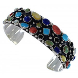 Multicolor Authentic Sterling Silver Cuff Jewelry Bracelet VX37767