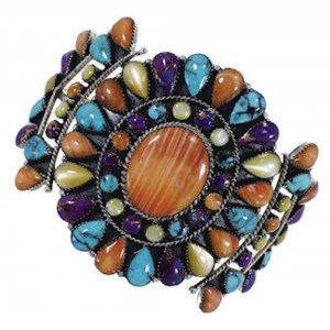 Southwest Sterling Silver And Multicolor Cuff Bracelet IS60990