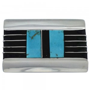 Southwestern Sterling Silver Turquoise Jet Inlay Belt Buckle TX28773