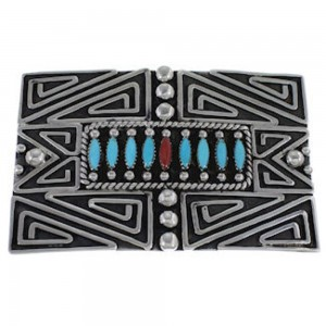 Turquoise And Coral Southwest Belt Buckle PX29152