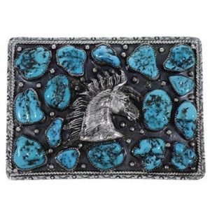 Sterling Silver Turquoise Southwest Horse Belt Buckle PS70744