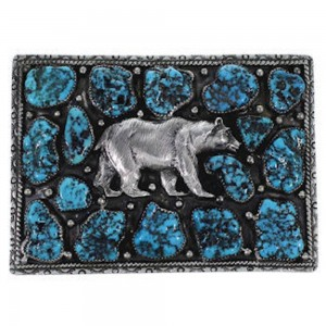 Southwest Turquoise Sterling Silver Bear Belt Buckle PS70775