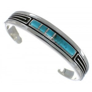 Turquoise Inlay Jewelry Sterling Silver Sturdy Cuff Bracelet MX27410