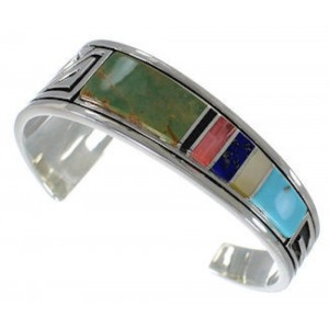 Feather Multicolor Sterling Silver Southwest Cuff Bracelet MX27318