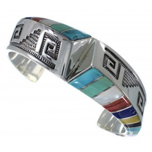 Sterling Silver Southwestern Multicolor Inlay Cuff Bracelet PX27763