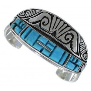 Southwest Turquoise Sterling Silver Water Wave Cuff Bracelet EX27579