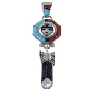 Zuni Don Dewa Multicolor Sun Feather Reversible Spinner Pendant FX36239