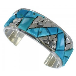 Turquoise Inlay Silver Cuff Bracelet CW64902