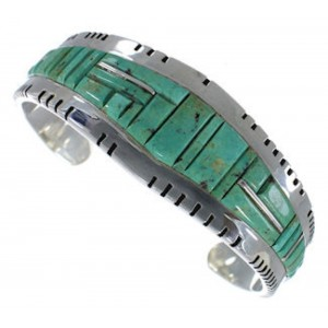 Southwest Turquoise Inlay Sterling Silver Cuff Bracelet EX27368