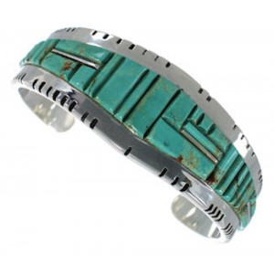 Sterling Silver Turquoise Inlay Sturdy Cuff Bracelet Jewelry EX28230