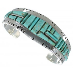 Turquoise Sterling Silver Southwest Jewelry Cuff Bracelet EX27402