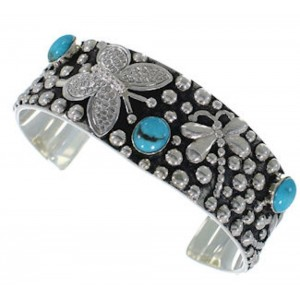 Turquoise Butterfly Sterling Silver Dragonfly Cuff Bracelet FX27886