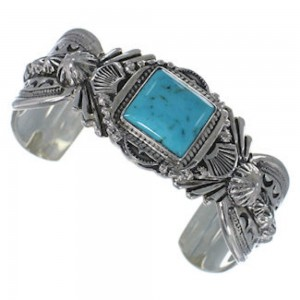 Southwest Jewelry Sterling Silver Turquoise Cuff Bracelet FX27480
