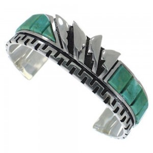 Southwest Turquoise Silver Inlay Cuff Bracelet BW66378