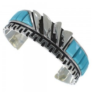 Sterling Silver Turquoise Inlay Southwest Cuff Bracelet BW66360
