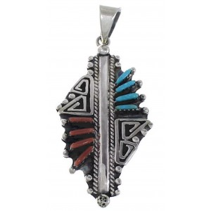 Coral Turquoise Overlay Sterling Silver Pendant GS58414
