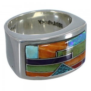 Sterling Silver Jewelry Multicolor Whiterock Ring Size 9-1/2 JW63520