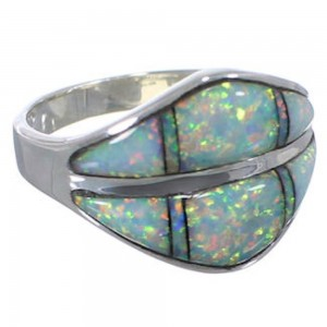 Southwestern Sterling Silver Opal Inlay Ring Size 7-3/4 MX23527