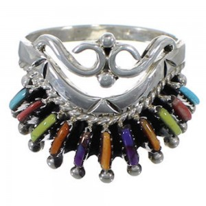 Multicolor Needlepoint Sterling Silver Jewelry Ring Size 8-3/4 EX22068