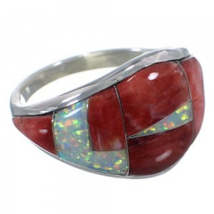 Red Oyster Shell Opal Silver Southwest Jewelry Ring Size 8-3/4 EX22506