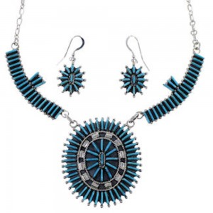 Silver Turquoise Southwest Link Necklace And Earrings Set PX35873