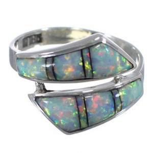 Genuine Sterling Silver And Opal Inlay Ring Size 5-3/4 ZX35693
