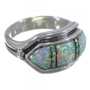 Silver And Opal Inlay Southwest Jewelry Ring Size 8 BW72460