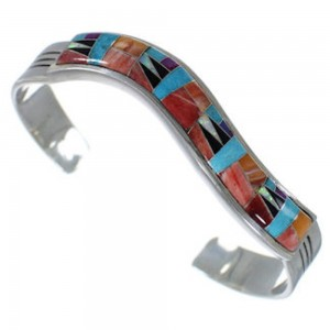Multicolor Sterling Silver Turquoise Jewelry Cuff Bracelet AW70307