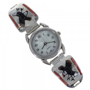 Multicolor And Genuine Sterling Silver Eagle Watch YX77799