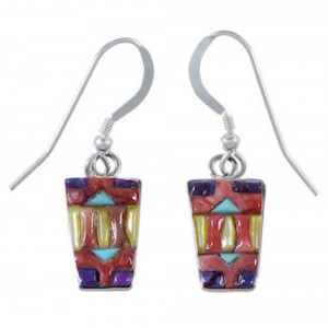 Southwestern Multicolor Inlay And Silver Earrings EX32680