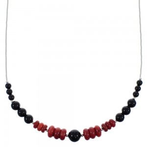 Liquid Silver Coral And Onyx Bead Necklace PX40919