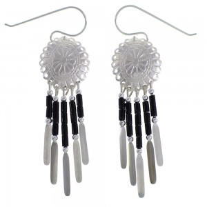 Onyx Genuine Sterling Silver Concho Earrings EX45560