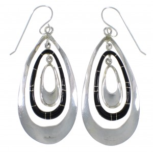 Jet Inlay And Genuine Sterling Silver Earrings EX44708