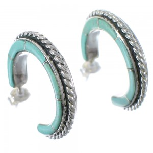 Authentic Sterling Silver Turquoise Inlay Post Hoop Earrings AX49271