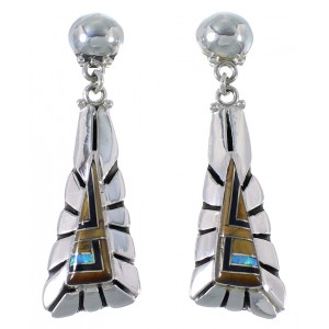 Genuine Sterling Silver And Multicolor Earrings EX41012